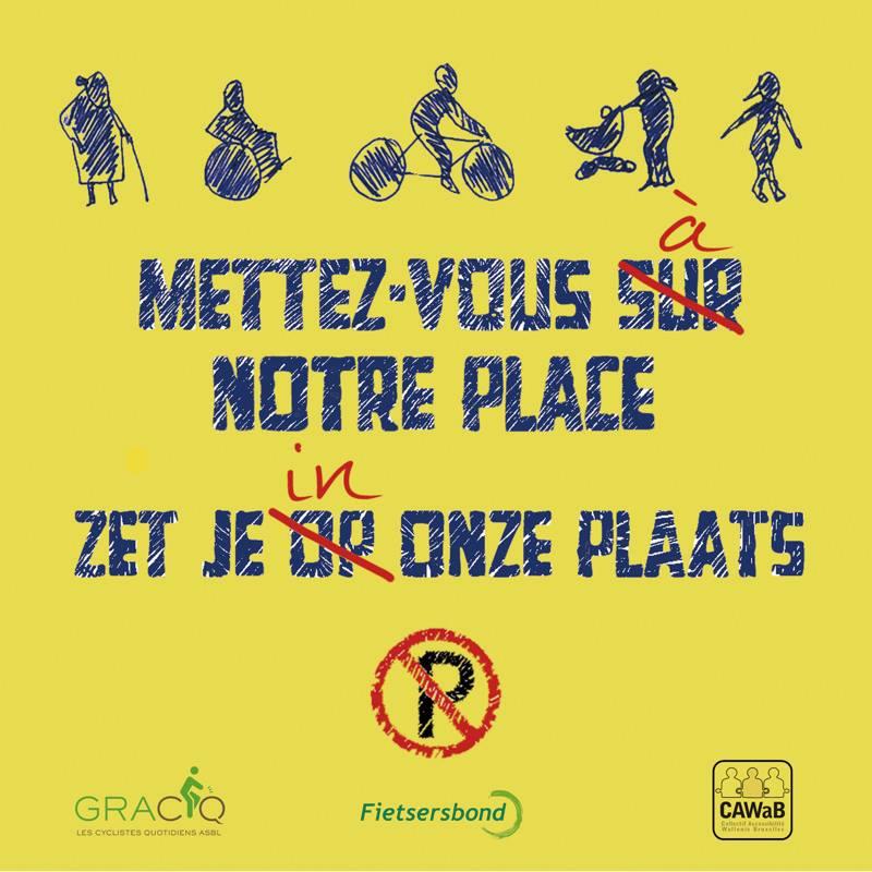 """Post it pour l'action """"ceci n'est pas un parking"""" pour sensibiliser au respect des stationnements PMR"""