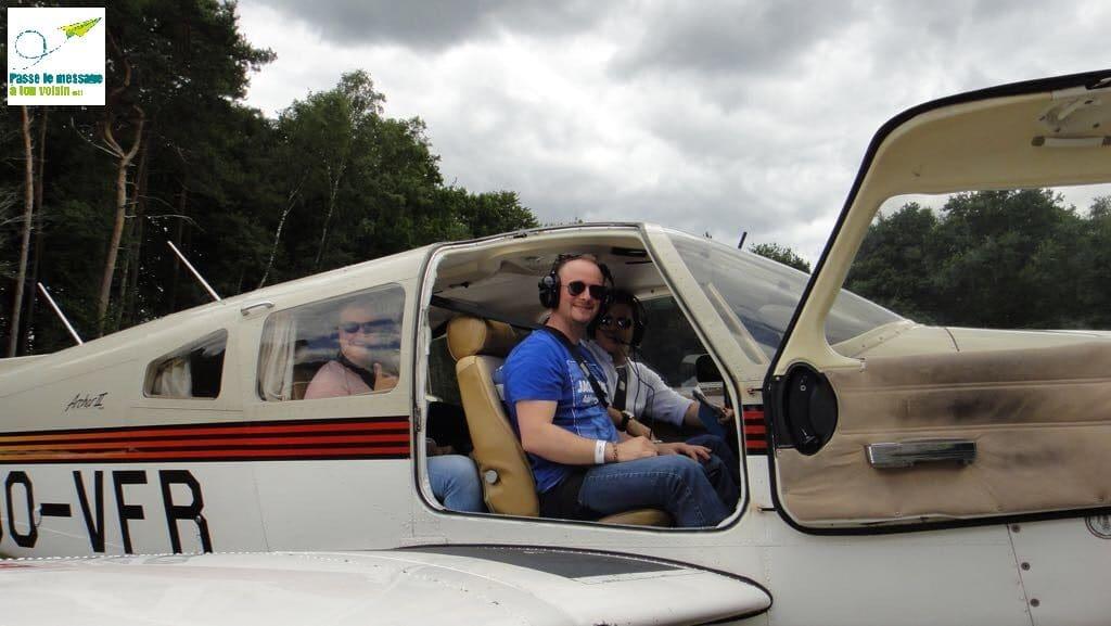 baptême de l'air avec des patients d'un centre de revalidation, avion adapté PMR