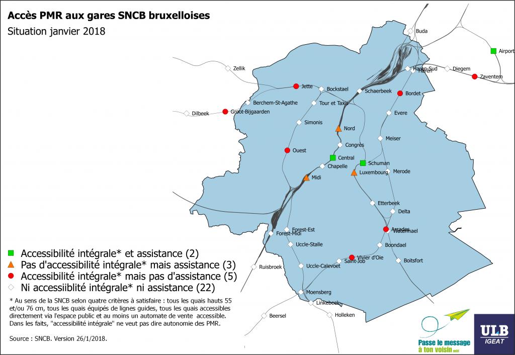 carte de l'accessibilité des gares de la SNCB à Bruxelles pour les PMR 2018