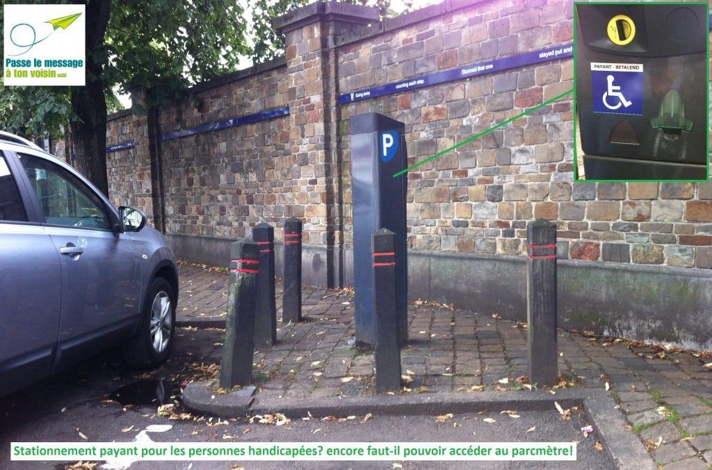 parcmètre sans accessibilité pour les PMR