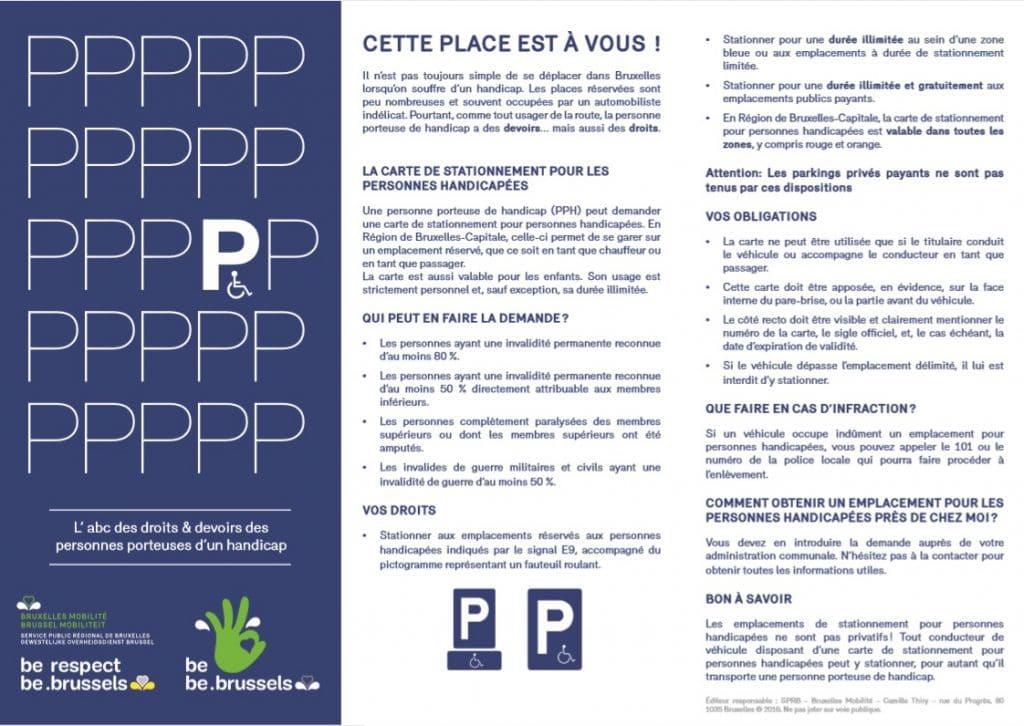 """flyer de la campagne """"Garez-vous avec respect"""" de l'asbl """"Passe le Message à ton Voisin"""" PPH"""