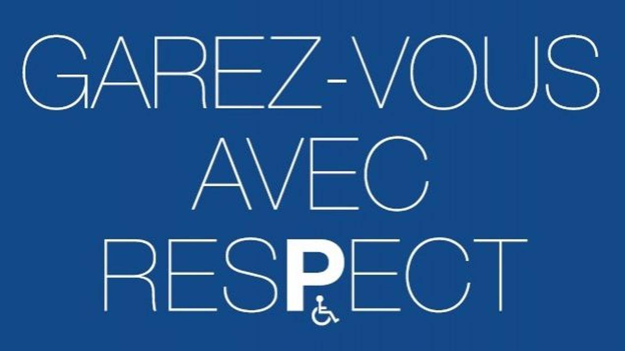 """image de la campagne """"garez-vous avec respect"""" de l'asbl """"Passe le Message à ton Voisin"""" pour plus de respect du stationnement pour personne handicapée"""