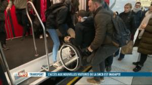 image du JT de RTL sur l'accessibilité des nouvelles voitures M7 de la SNCB pour les PMR