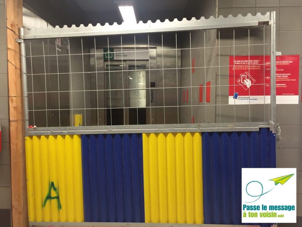 ascenseur PMR avec problème d'accessibilité pendant travaux sur le réseau métro de la STIB