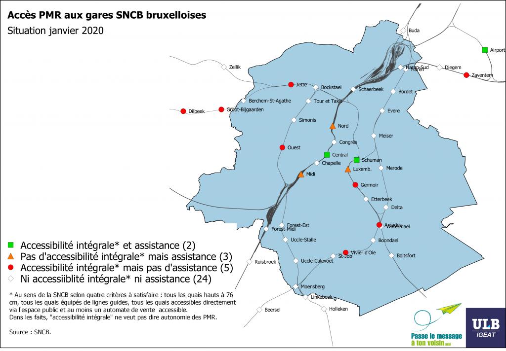 carte de l'accessibilité des gares de la SNCB à Bruxelles pour les PMR 2020